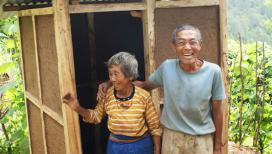 Couple in front of toilet